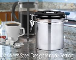 Stainless Steel Canisters Kitchen Amazon Com Chef U0027s Star 16 Oz Stainless Steel Airtight Canister