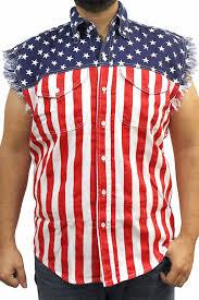 american flag sleeveless men u0027s denim biker shirt basic sd usa size
