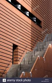 Modern Brick Wall Staircase Along Side Red Brick Wall Of San Francisco Museum Of