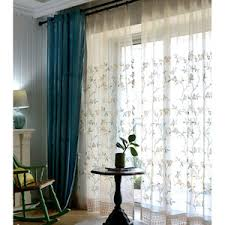 Pinch Pleated Semi Sheer Curtains Turquoise Sheer Curtains Modern Privacy Sheer Curtains Blue