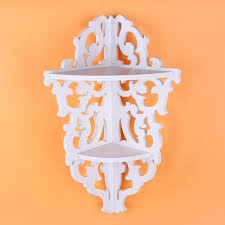 white wooden chic filigree style decorative wall corner shelves