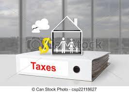 famille bureau famille bureau maison symbole dollar impôts relieur photo