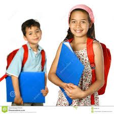 Children Children With Blue Folder And Red Rucksack Royalty Free