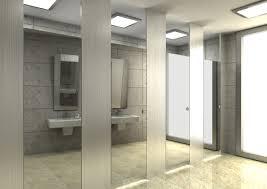 contemporary public bathroom mirror driving campaign frightens