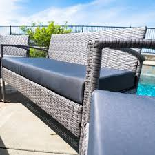 4 Piece Wicker Patio Furniture Belleze Outdoor 4 Piece Wicker Chat Set With Cushions Patio