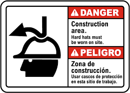 ansi z535 table 130 7 f bilingual danger hard hats must be worn on site sign g2367bi