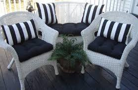 White Wicker Patio Furniture - wicker outdoor cushions black solid and black u0026 white stripe