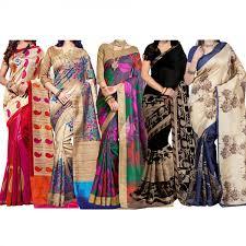 sarees women sarees online buy designer bollywood sarees pack of 5 printed bhagalpuri silk saree