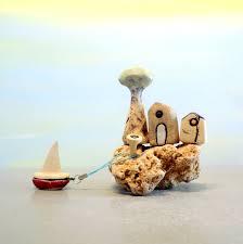 rustic miniature ceramic houses olive tree beach home decor