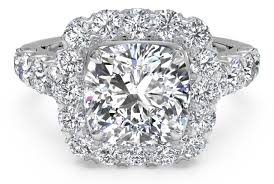 beautiful diamond rings images Designer cushion cut engagement ring with halo and sidestone png