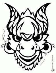 chinese mask coloring page or colored mask printables http www