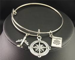 bangle bracelet charms images Silver wanderlust traveling the world airplane compass passport jpg