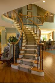 interior design curved staircase in cozy traditional staircase