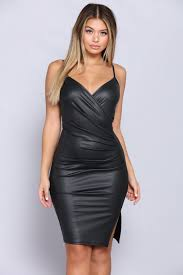 list leather dress black