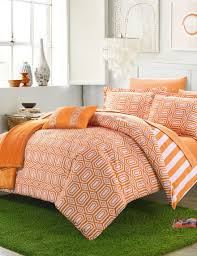 chic home design nantes orange geo contrast reversible comforter