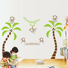 cute lovely monkeys tree diy wall sticke stickers wallpaper art cute lovely monkeys tree diy wall sticke stickers wallpaper art decor mural kid child room decal