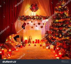 Home Interiors Christmas Room Christmas Tree Fireplace Lights Xmas Stock Photo 331912358