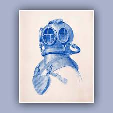 Nautical Nursery Wall Decor by Diver Helmet Print Vintage Image Scuba Diving Helmet Print Blue