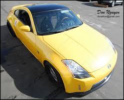 nissan 350z yellow color nissan 350z coupe gloss black roof vinyl car wrap u2014 wannabe