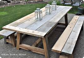 Plans Wood Patio Furniture Free by Reclaimed Wood Outdoor Dining Table And Benches