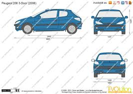 peugeot 206 2008 the blueprints com vector drawing peugeot 206 3 door