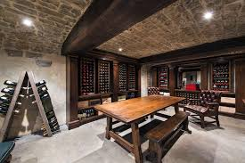 tasting room wine cellar contemporary with wood dining table