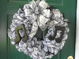 white deco mesh deco mesh wreath in black and white with a musical by someshedup