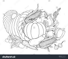 thanksgiving cornucopia coloring pages thanksgiving cornucopia vegetables horn plenty black stock vector