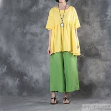 trendy boutique clothing baggy yellow linen t shirt trendy plus size traveling