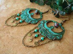 Aegean Chandelier Earrings Turquoise Blue Turquoise Bohemian Chandelier Earrings Gold Lotus Beaded Flower