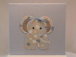 fabric photo album 12x12 postbound fabric scrapbook album baby boy elephant applique