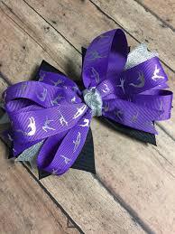 ribbon for hair that says gymnastics gymnastics bow purple gymnastics ribbon ponytail band purple