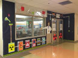 halloween entrance decorations mad science story laboratory library entrance science