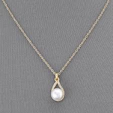 elegant pendant necklace images Gold simple chain pearl small clear stone pendant elegant necklace jpg