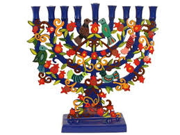 hanukkah menorahs laser cut painted metal hanukkah menorah