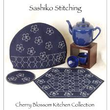 sashiko pattern cherry blossom kitchen collection a threaded