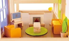 amazon com hape wooden doll house furniture media room set toys