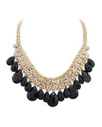 black drop necklace images Black drop gemstone gold chain necklace ac0020185 1 jpg