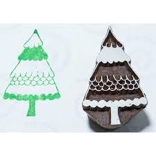 blockwallah hand carved wood stamp b066 snowy christmas tree