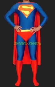 superman red and blue lycra spandex unisex super hero zentai suit