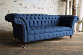 blue chesterfield sofa modern handmade 3 seater navy fabric herringbone wool chesterfield