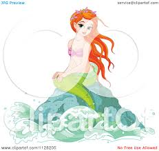 cartoon of a beautiful red haired mermaid on a rock royalty free