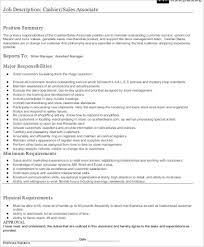 Job Description For Cashier For Resume by Store Associate Job Description Resume For Sales Associate Sales