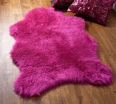 Washable Sheepskin Rug Pink Faux Fur Rug Roselawnlutheran
