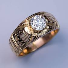mens vintage rings images Unusual antique diamond chased gold men 39 s ring antique jewelry jpg