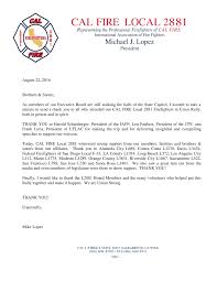 Appreciation Letter Sister general news cal fire local 2881