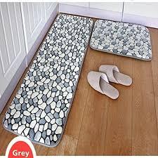 fadfay 2 piece bathroom rug set pebble stone rug memory foam floor