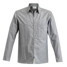 clement cuisine vetement veste de cuisine homme façon chemise zippée factory grise