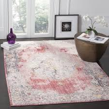 safavieh bristol bohemian pink grey polyester area rug 7 u0027 square