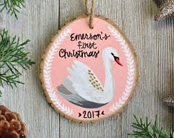 swan ornament etsy